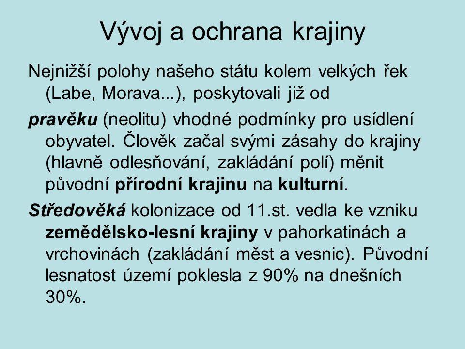 Vývoj a ochrana krajiny Nejnižší polohy našeho státu kolem velkých řek (Labe, Morava...), poskytovali již od pravěku (neolitu) vhodné podmínky pro usí