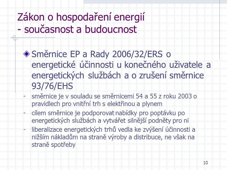 10 Zákon o hospodaření energií - současnost a budoucnost Směrnice EP a Rady 2006/32/ERS o energetické účinnosti u konečného uživatele a energetických službách a o zrušení směrnice 93/76/EHS - směrnice je v souladu se směrnicemi 54 a 55 z roku 2003 o pravidlech pro vnitřní trh s elektřinou a plynem - cílem směrnice je podporovat nabídky pro poptávku po energetických službách a vytvářet silnější podněty pro ni - liberalizace energetických trhů vedla ke zvýšení účinnosti a nižším nákladům na straně výroby a distribuce, ne však na straně spotřeby