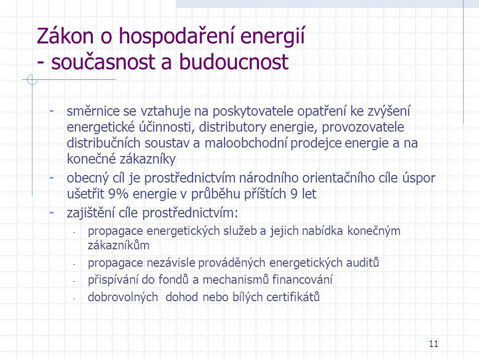 11 Zákon o hospodaření energií - současnost a budoucnost - směrnice se vztahuje na poskytovatele opatření ke zvýšení energetické účinnosti, distributory energie, provozovatele distribučních soustav a maloobchodní prodejce energie a na konečné zákazníky - obecný cíl je prostřednictvím národního orientačního cíle úspor ušetřit 9% energie v průběhu příštích 9 let - zajištění cíle prostřednictvím: - propagace energetických služeb a jejich nabídka konečným zákazníkům - propagace nezávisle prováděných energetických auditů - přispívání do fondů a mechanismů financování - dobrovolných dohod nebo bílých certifikátů