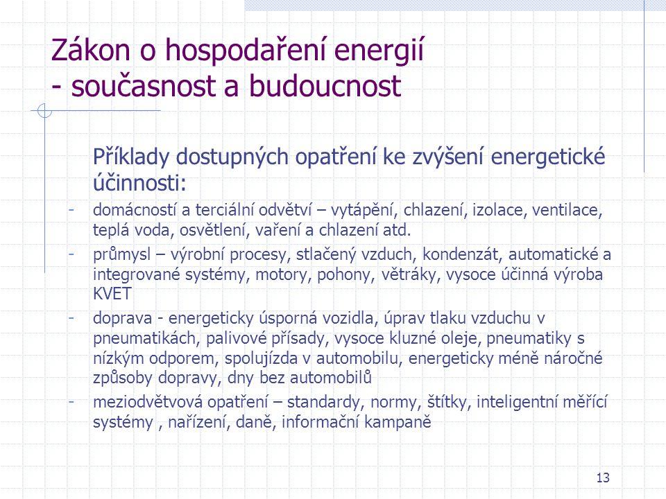 13 Zákon o hospodaření energií - současnost a budoucnost Příklady dostupných opatření ke zvýšení energetické účinnosti: - domácností a terciální odvětví – vytápění, chlazení, izolace, ventilace, teplá voda, osvětlení, vaření a chlazení atd.
