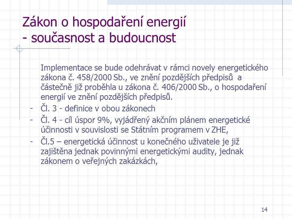 14 Zákon o hospodaření energií - současnost a budoucnost Implementace se bude odehrávat v rámci novely energetického zákona č.