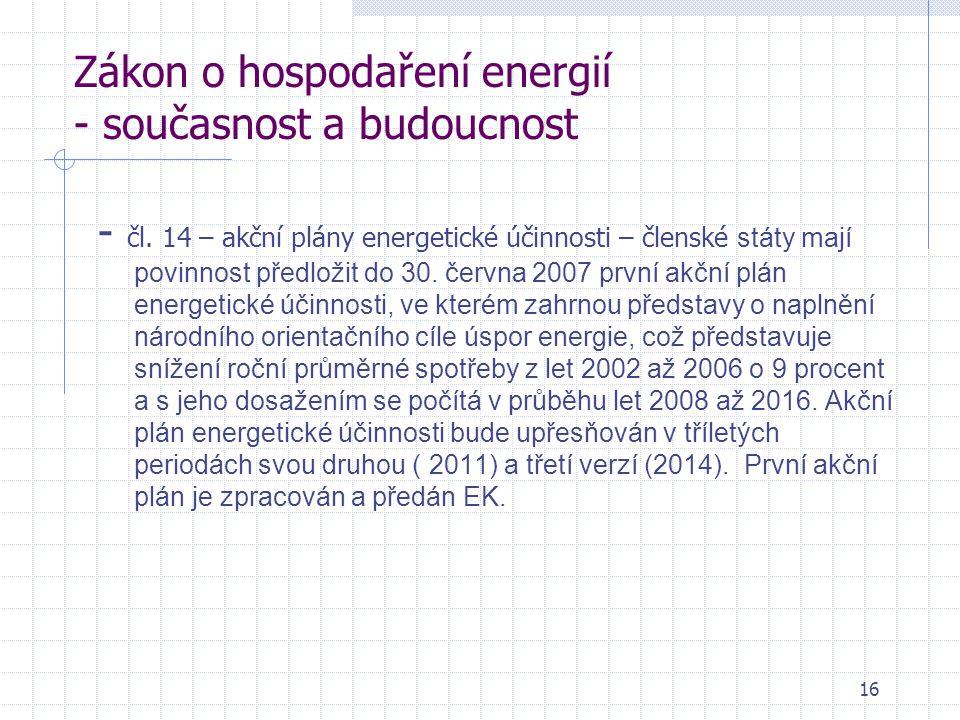 16 Zákon o hospodaření energií - současnost a budoucnost - čl.