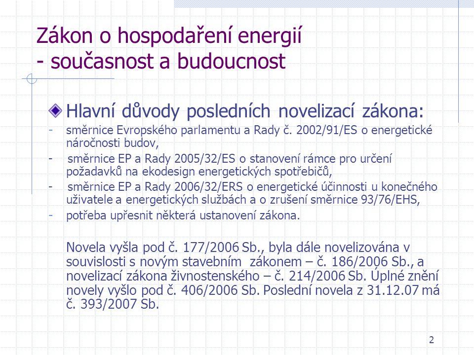 2 Zákon o hospodaření energií - současnost a budoucnost Hlavní důvody posledních novelizací zákona: - směrnice Evropského parlamentu a Rady č.