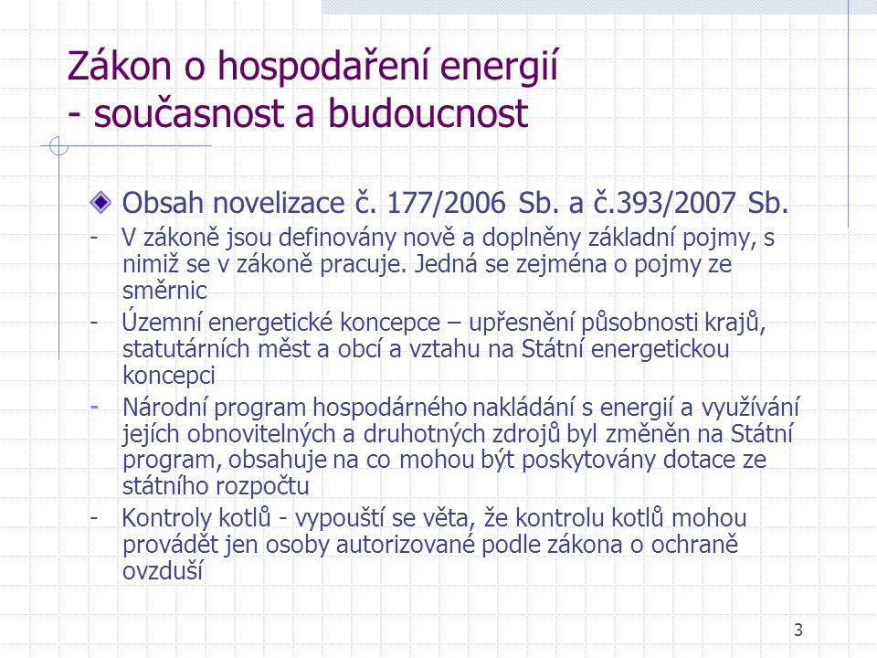 3 Zákon o hospodaření energií - současnost a budoucnost Obsah novelizace č.