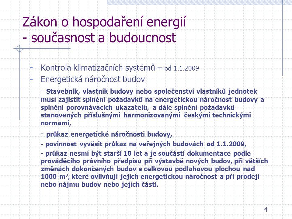 4 Zákon o hospodaření energií - současnost a budoucnost - Kontrola klimatizačních systémů – od 1.1.2009 - Energetická náročnost budov - Stavebník, vlastník budovy nebo společenství vlastníků jednotek musí zajistit splnění požadavků na energetickou náročnost budovy a splnění porovnávacích ukazatelů, a dále splnění požadavků stanovených příslušnými harmonizovanými českými technickými normami, - průkaz energetické náročnosti budovy, - povinnost vyvěsit průkaz na veřejných budovách od 1.1.2009, - průkaz nesmí být starší 10 let a je součástí dokumentace podle prováděcího právního předpisu při výstavbě nových budov,při větších změnách dokončených budov s celkovou podlahovou plochou nad 1000 m 2, které ovlivňují jejich energetickou náročnost a při prodeji nebo nájmu budov nebo jejich částí.