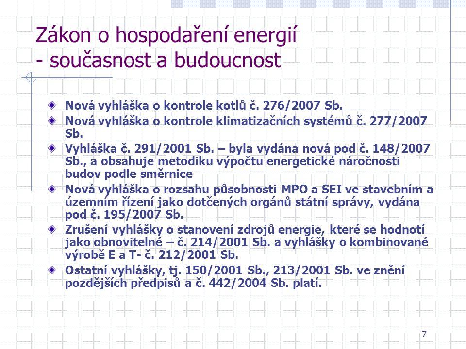 7 Zákon o hospodaření energií - současnost a budoucnost Nová vyhláška o kontrole kotlů č.