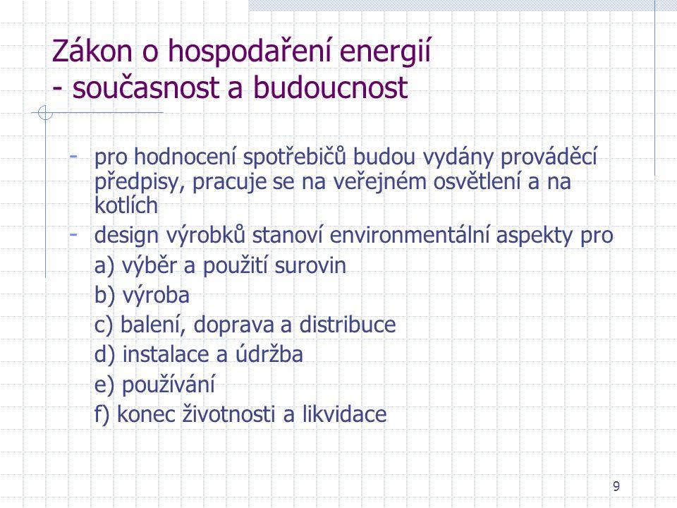 9 Zákon o hospodaření energií - současnost a budoucnost - pro hodnocení spotřebičů budou vydány prováděcí předpisy, pracuje se na veřejném osvětlení a na kotlích - design výrobků stanoví environmentální aspekty pro a) výběr a použití surovin b) výroba c) balení, doprava a distribuce d) instalace a údržba e) používání f) konec životnosti a likvidace