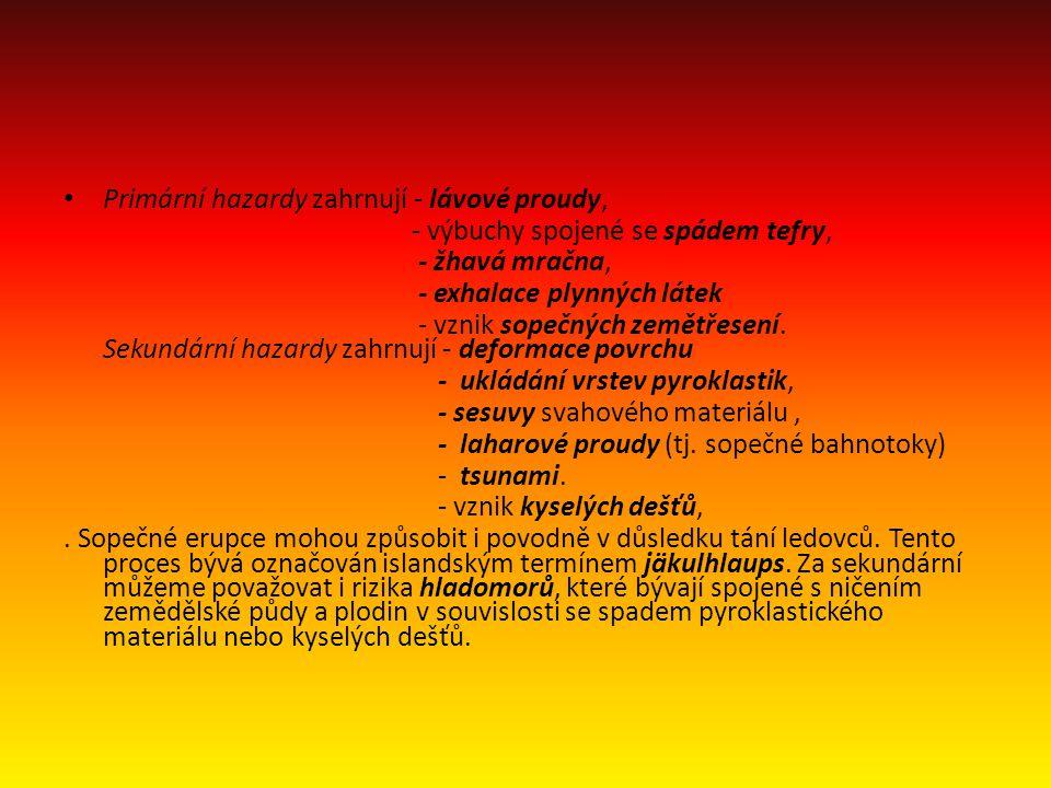 • Primární hazardy zahrnují - lávové proudy, - výbuchy spojené se spádem tefry, - žhavá mračna, - exhalace plynných látek - vznik sopečných zemětřesen