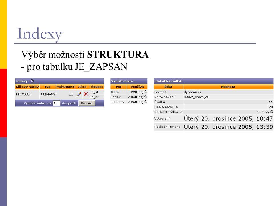 Indexy Výběr možnosti STRUKTURA - pro tabulku JE_ZAPSAN