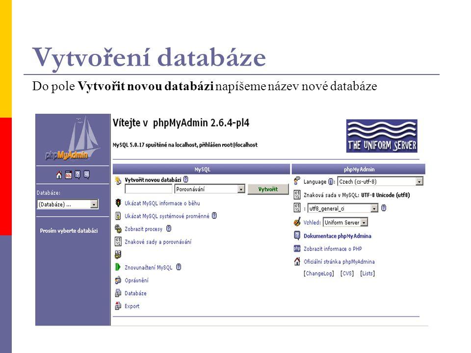 Vytvoření databáze Do pole Vytvořit novou databázi napíšeme název nové databáze