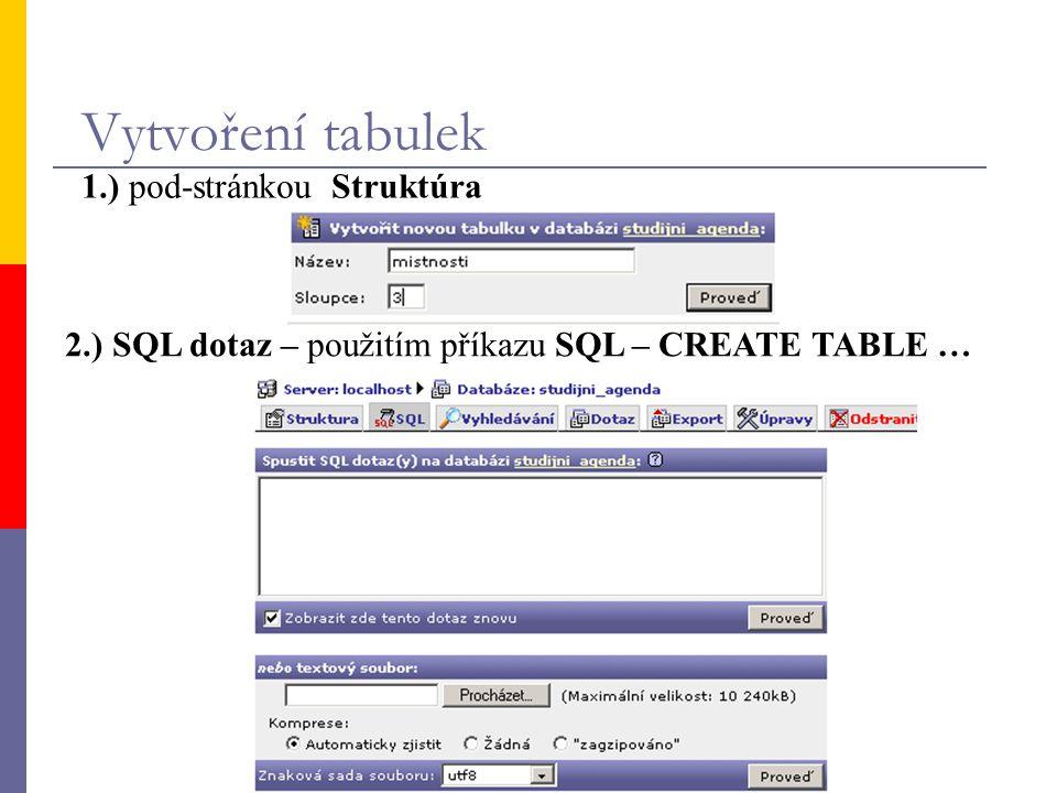 Typy tabulek – Storage Engine  MyISAM - standart MySQL od verze 3.23.0; soubory s tabulkami mají koncovku.myd (data) a.myi (indexy)  ISAM - standartní typ tabulky ve starších databázích; dnes nahrazen typem MyISAM  MERGE - formát vhodný pro spojení MyISAM tabulek se stejně nadefinovanými poli  HEAP - tabulka tohoto typu je uložena pouze v paměti (může být velmi rychlá), má ale řadu omezení  InnoDB - uzamykání tabulky je vykonáváno na úrovni řádků; před použitím je nutná kompilace MySQL s podporou InnoDB  BDB - typ tabulky podobný InnoDB; zatím ve fázi testování před nasazením jiného typu než MYISAM si prostudujte originální dokumentaci