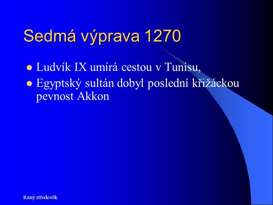 Raný středověk Sedmá výprava 1270  Ludvík IX umírá cestou v Tunisu,  Egyptský sultán dobyl poslední křižáckou pevnost Akkon