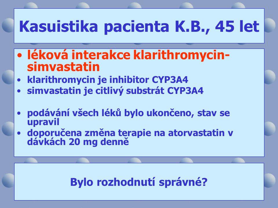 Kasuistika pacienta K.B., 45 let •léková interakce klarithromycin- simvastatin •klarithromycin je inhibitor CYP3A4 •simvastatin je citlivý substrát CY