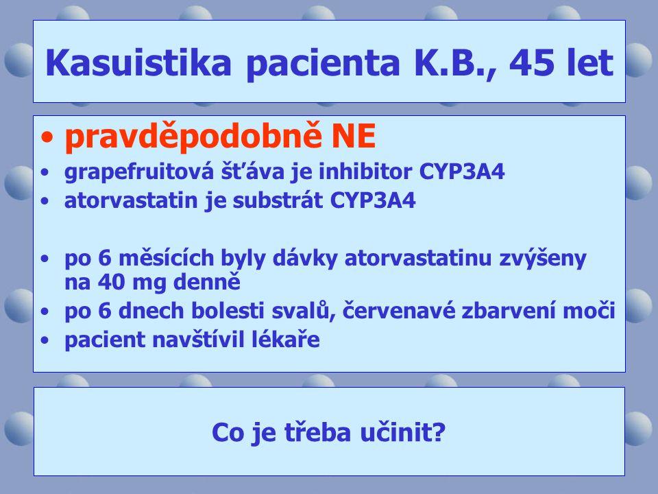 Kasuistika pacienta K.B., 45 let •pravděpodobně NE •grapefruitová šťáva je inhibitor CYP3A4 •atorvastatin je substrát CYP3A4 •po 6 měsících byly dávky