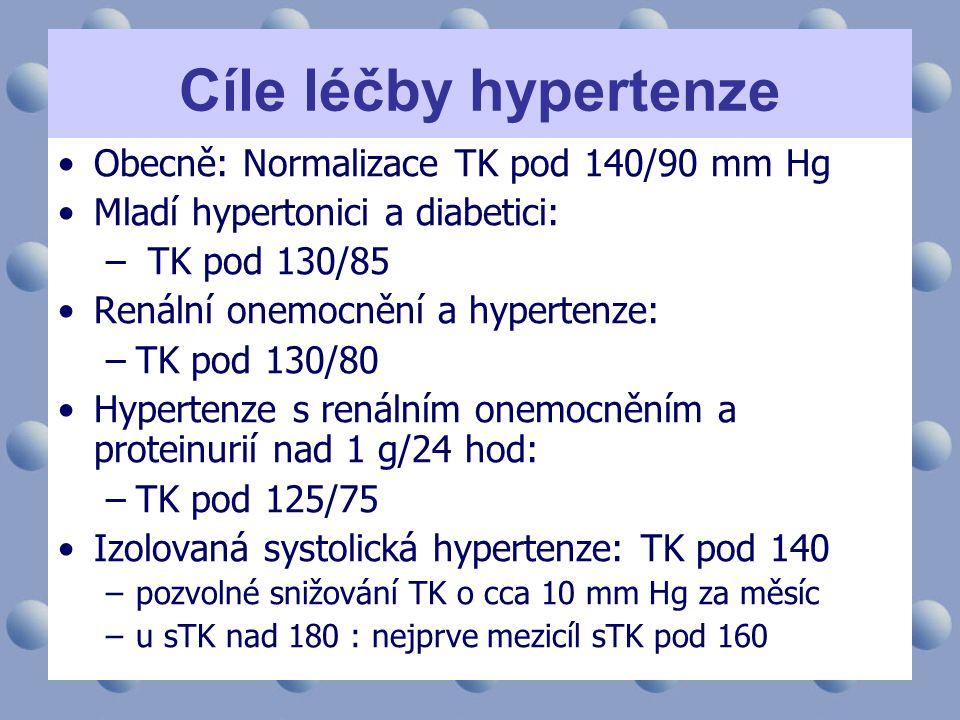 Cíle léčby hypertenze •Obecně: Normalizace TK pod 140/90 mm Hg •Mladí hypertonici a diabetici: – TK pod 130/85 •Renální onemocnění a hypertenze: –TK p