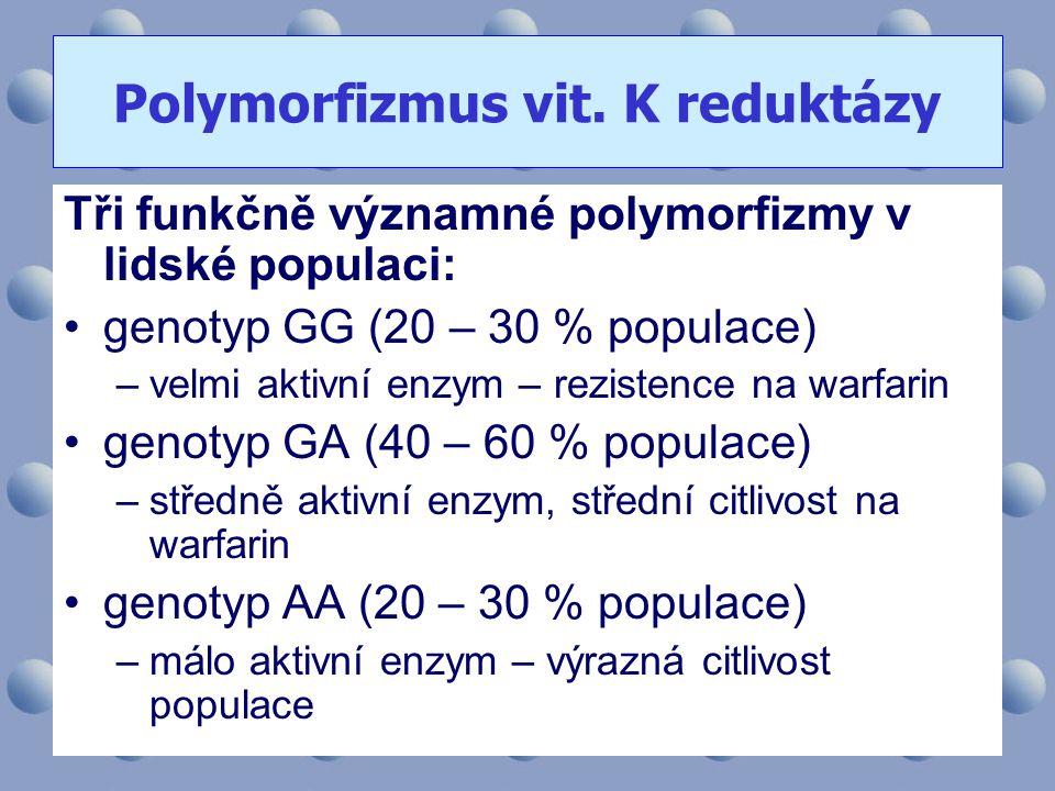 Tři funkčně významné polymorfizmy v lidské populaci: •genotyp GG (20 – 30 % populace) –velmi aktivní enzym – rezistence na warfarin •genotyp GA (40 –