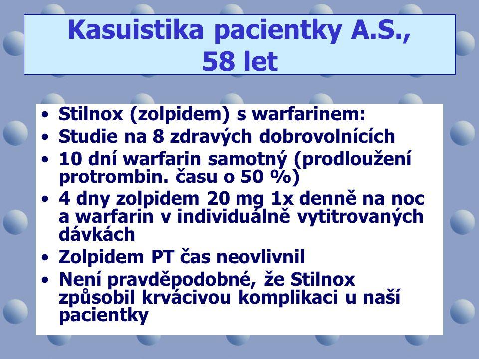 •Stilnox (zolpidem) s warfarinem: •Studie na 8 zdravých dobrovolnících •10 dní warfarin samotný (prodloužení protrombin. času o 50 %) •4 dny zolpidem