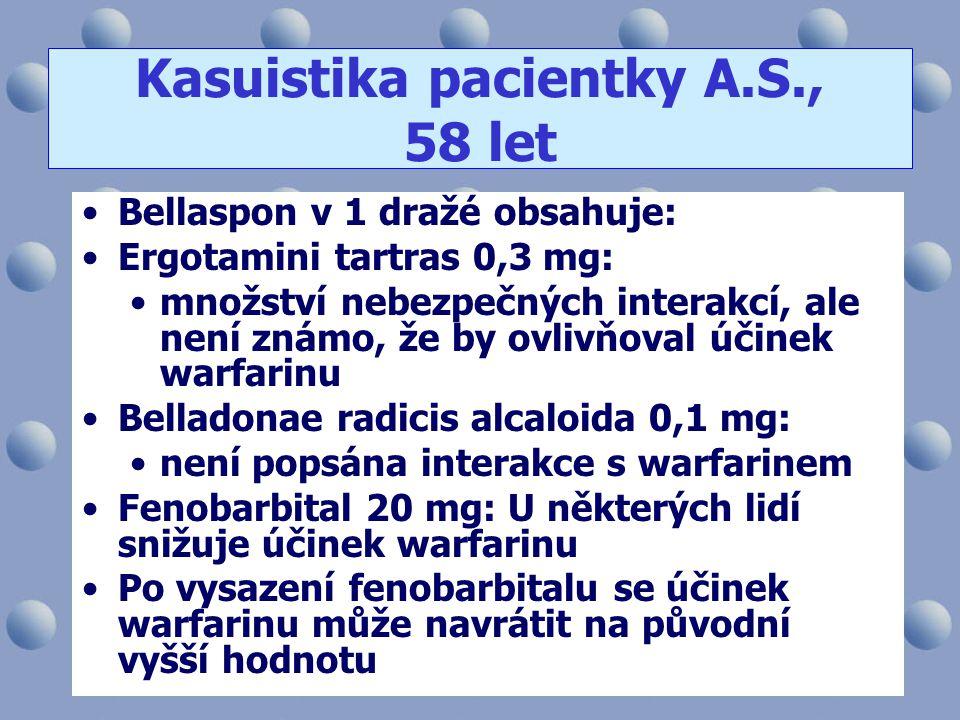 •Bellaspon v 1 dražé obsahuje: •Ergotamini tartras 0,3 mg: •množství nebezpečných interakcí, ale není známo, že by ovlivňoval účinek warfarinu •Bellad