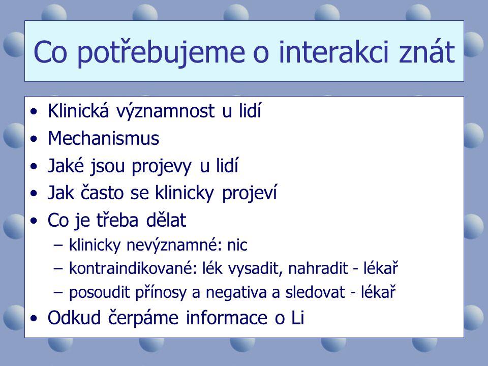 Co potřebujeme o interakci znát •Klinická významnost u lidí •Mechanismus •Jaké jsou projevy u lidí •Jak často se klinicky projeví •Co je třeba dělat –