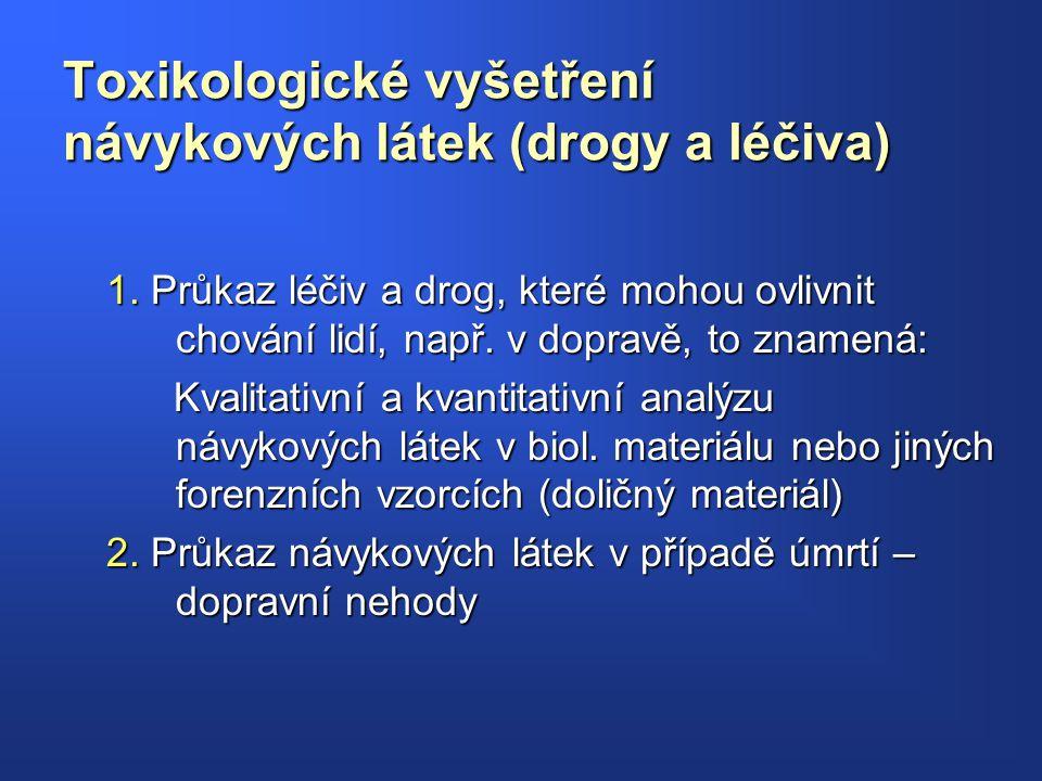 Toxikologické vyšetření návykových látek (drogy a léčiva) 1. Průkaz léčiv a drog, které mohou ovlivnit chování lidí, např. v dopravě, to znamená: Kval