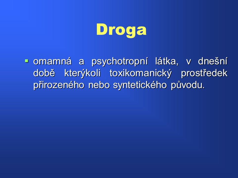 Droga  omamná a psychotropní látka, v dnešní době kterýkoli toxikomanický prostředek přirozeného nebo syntetického původu.