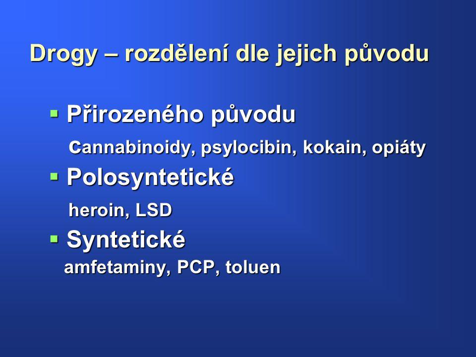 Drogy – rozdělení dle jejich původu  Přirozeného původu c annabinoidy, psylocibin, kokain, opiáty c annabinoidy, psylocibin, kokain, opiáty  Polosyn