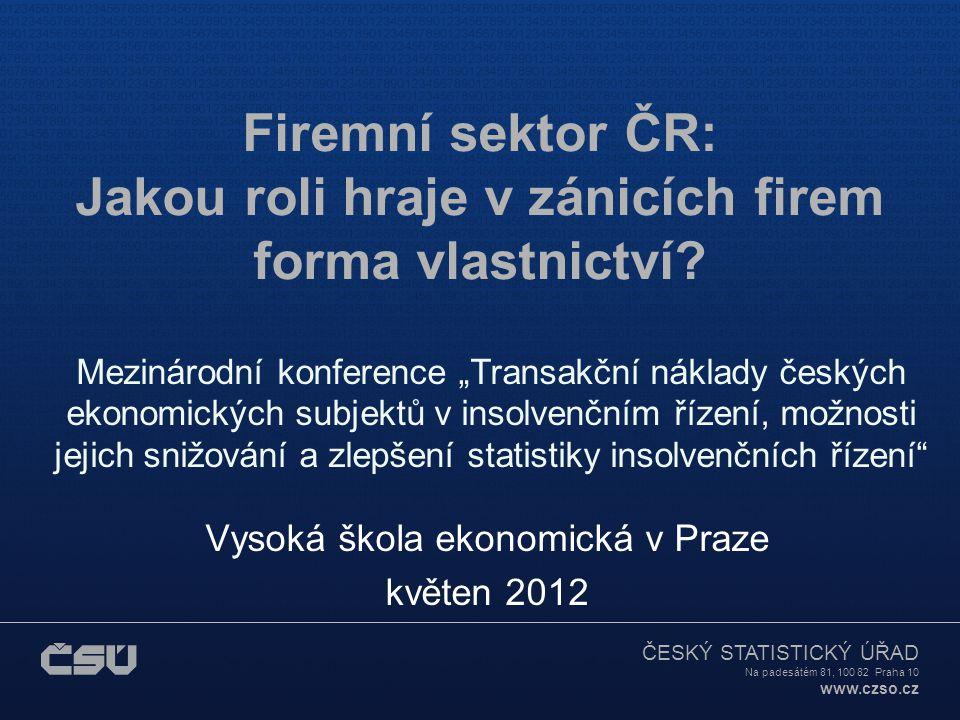 ČESKÝ STATISTICKÝ ÚŘAD Na padesátém 81, 100 82 Praha 10 www.czso.cz Firemní sektor ČR: Jakou roli hraje v zánicích firem forma vlastnictví.
