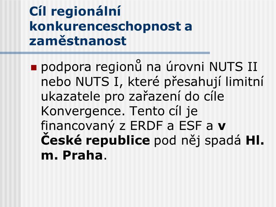 Cíl regionální konkurenceschopnost a zaměstnanost  podpora regionů na úrovni NUTS II nebo NUTS I, které přesahují limitní ukazatele pro zařazení do cíle Konvergence.
