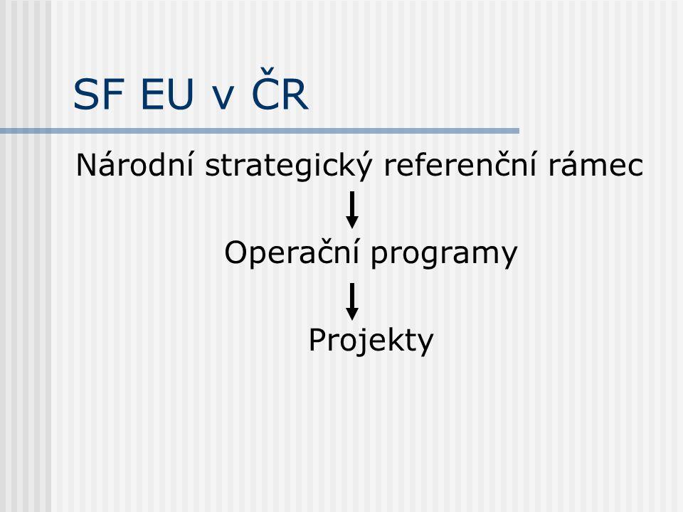 SF EU v ČR Národní strategický referenční rámec Operační programy Projekty