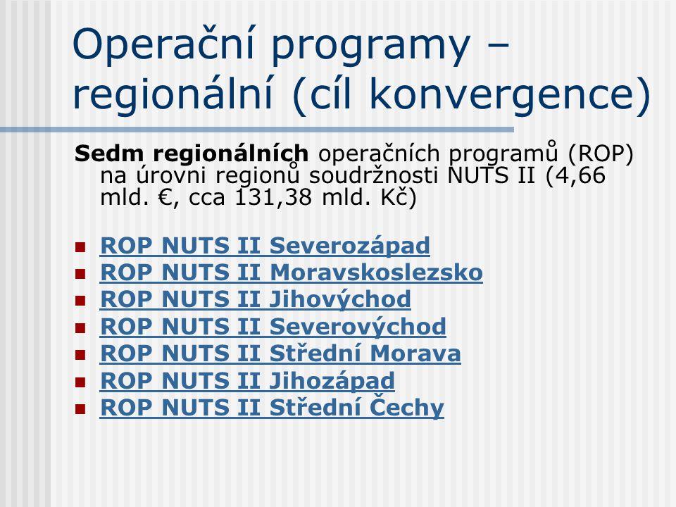 Operační programy – regionální (cíl konvergence) Sedm regionálních operačních programů (ROP) na úrovni regionů soudržnosti NUTS II (4,66 mld. €, cca 1