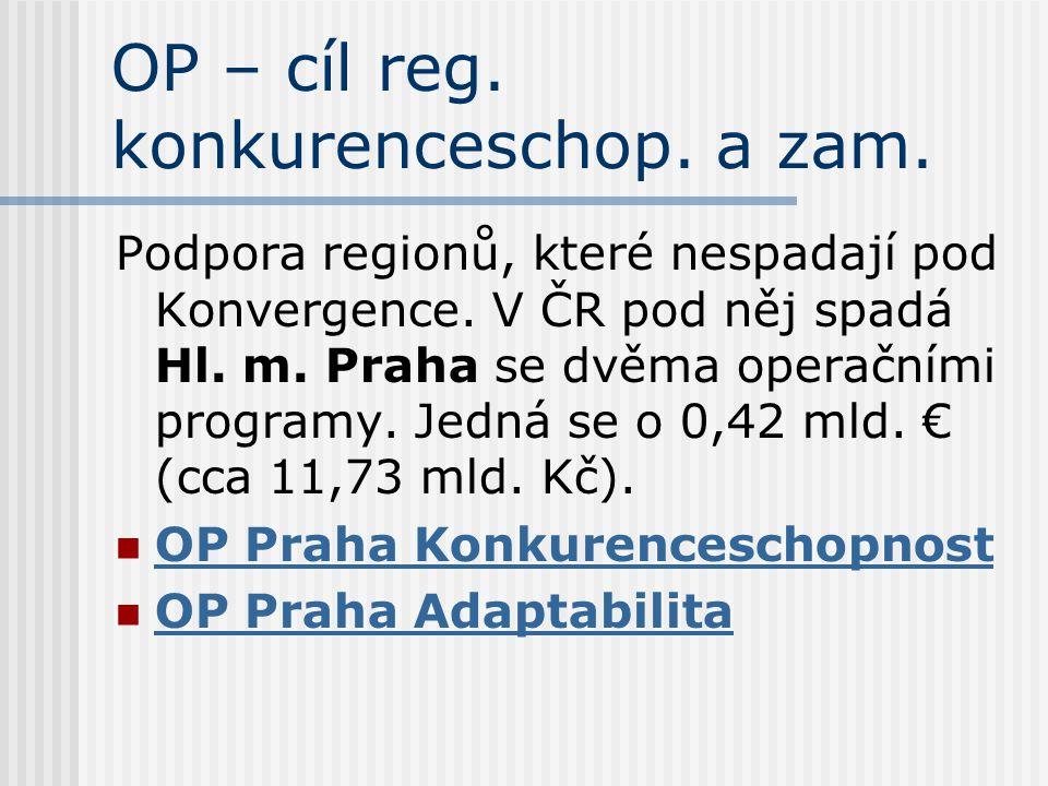 OP – cíl reg. konkurenceschop. a zam. Podpora regionů, které nespadají pod Konvergence. V ČR pod něj spadá Hl. m. Praha se dvěma operačními programy.