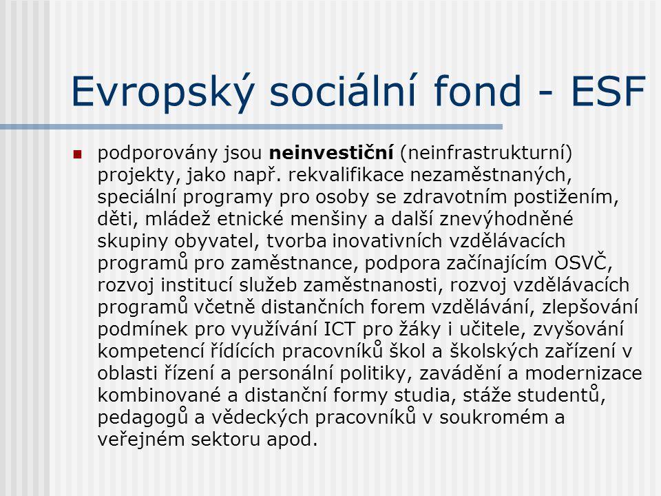 Evropský sociální fond - ESF  podporovány jsou neinvestiční (neinfrastrukturní) projekty, jako např. rekvalifikace nezaměstnaných, speciální programy