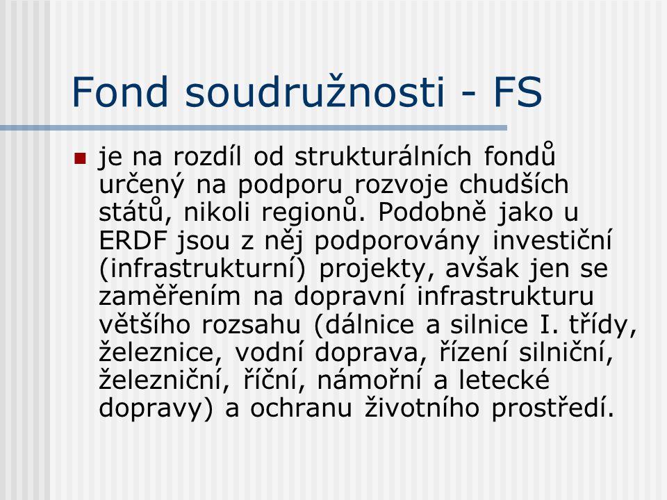 Fond soudružnosti - FS  je na rozdíl od strukturálních fondů určený na podporu rozvoje chudších států, nikoli regionů. Podobně jako u ERDF jsou z něj