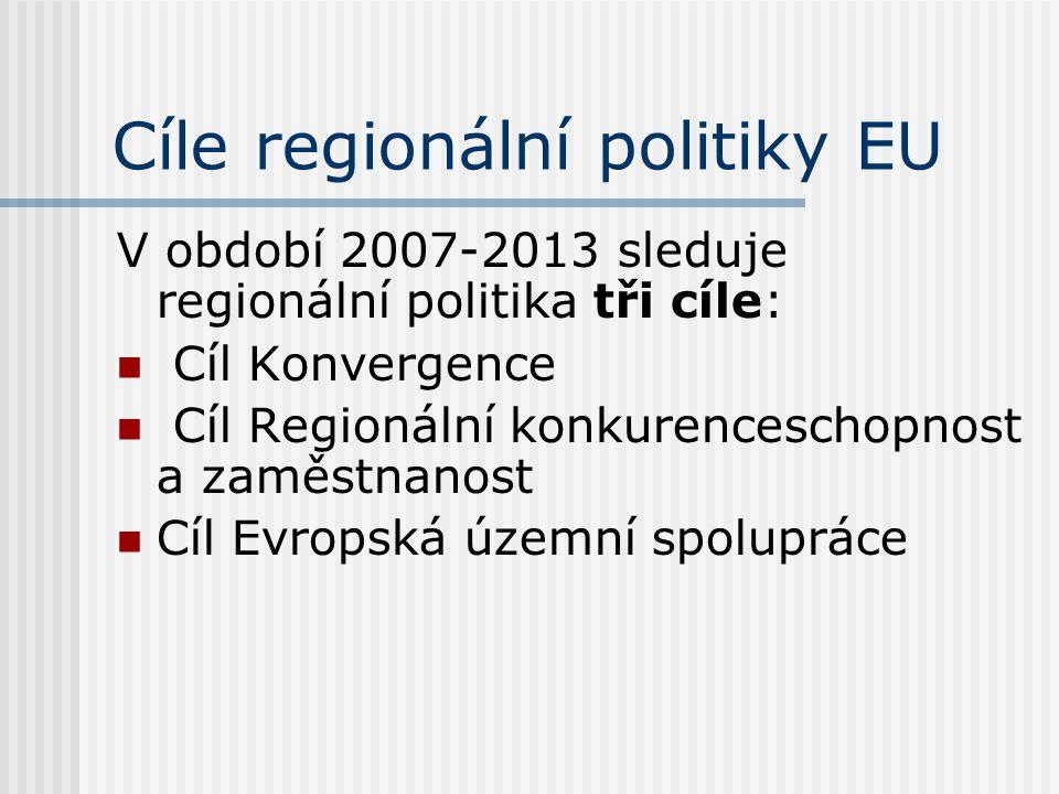 Cíle regionální politiky EU V období 2007-2013 sleduje regionální politika tři cíle:  Cíl Konvergence  Cíl Regionální konkurenceschopnost a zaměstnanost  Cíl Evropská územní spolupráce
