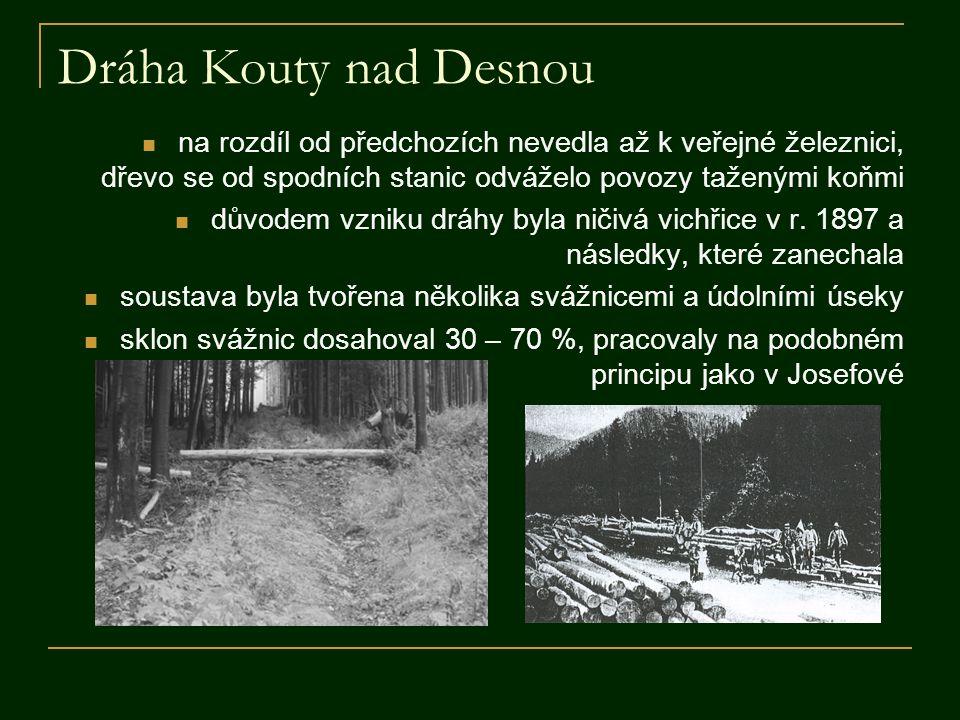 Dráha Kouty nad Desnou  na rozdíl od předchozích nevedla až k veřejné železnici, dřevo se od spodních stanic odváželo povozy taženými koňmi  důvodem