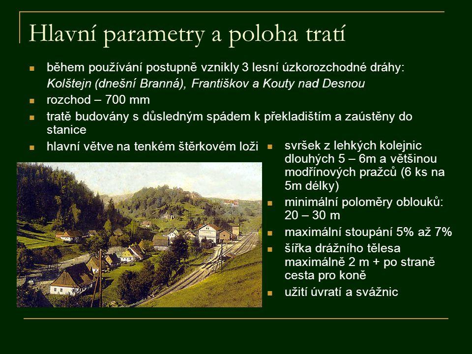 Hlavní parametry a poloha tratí  během používání postupně vznikly 3 lesní úzkorozchodné dráhy: Kolštejn (dnešní Branná), Františkov a Kouty nad Desno