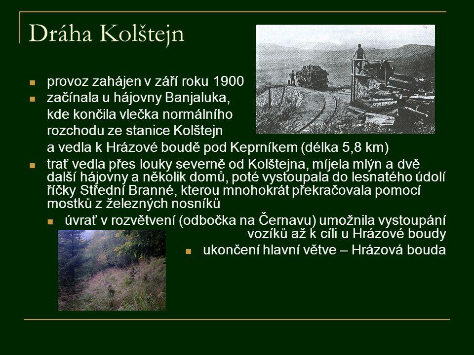 Dráha Kolštejn  provoz zahájen v září roku 1900  začínala u hájovny Banjaluka, kde končila vlečka normálního rozchodu ze stanice Kolštejn a vedla k