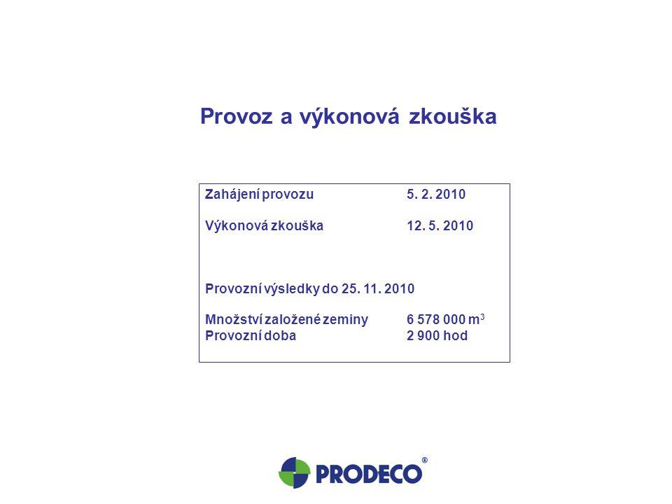 Provoz a výkonová zkouška Zahájení provozu5. 2. 2010 Výkonová zkouška12. 5. 2010 Provozní výsledky do 25. 11. 2010 Množství založené zeminy6 578 000 m