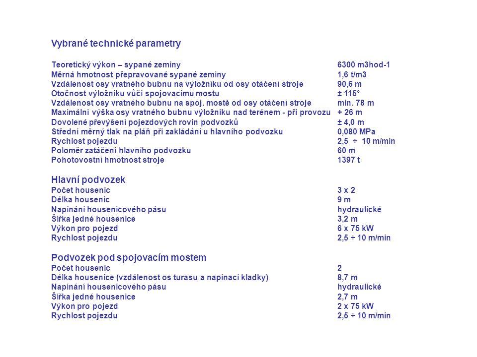 Vybrané technické parametry Teoretický výkon – sypané zeminy 6300 m3hod-1 Měrná hmotnost přepravované sypané zeminy1,6 t/m3 Vzdálenost osy vratného bu