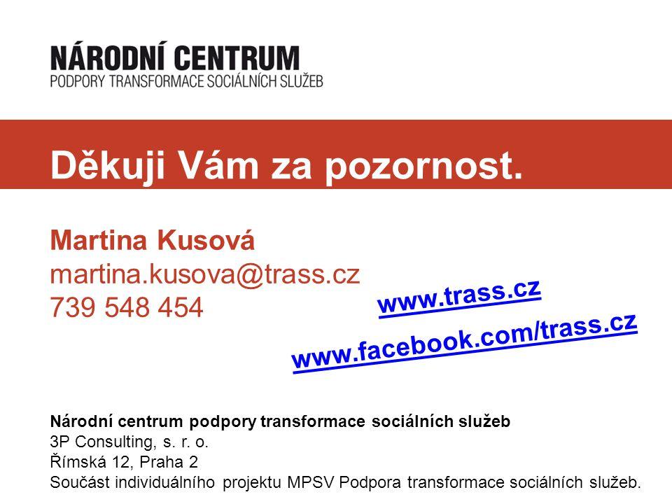 Děkuji Vám za pozornost. Martina Kusová martina.kusova@trass.cz 739 548 454 Národní centrum podpory transformace sociálních služeb 3P Consulting, s. r
