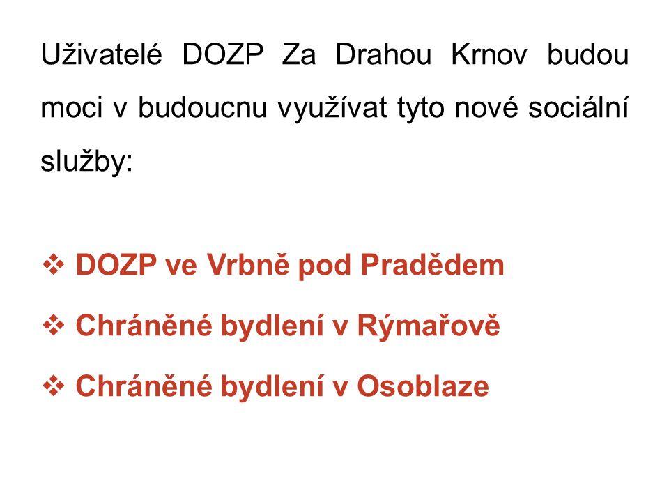 DOZP Vrbno pod Pradědem  3 domácnosti pro 6 osob s vysokou mírou podpory, celkem pro 18 uživatelů  Budoucí poskytovatel: Sagapo, p.