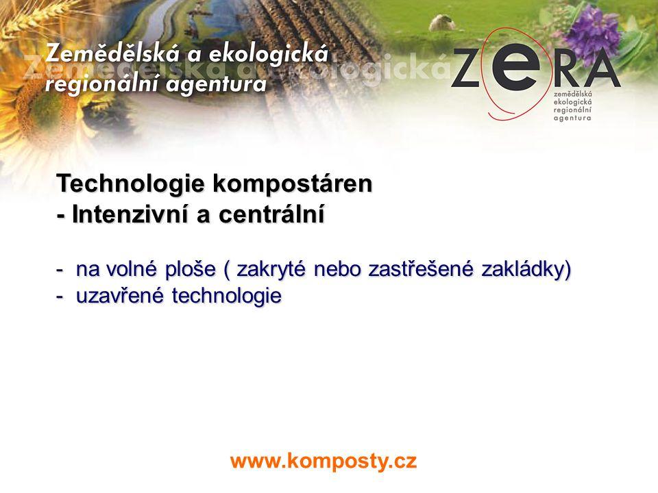 Technologie kompostáren - Intenzivní a centrální - na volné ploše ( zakryté nebo zastřešené zakládky) - uzavřené technologie www.komposty.cz