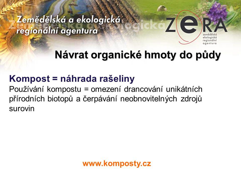 www.komposty.cz Kompost = náhrada rašeliny Používání kompostu = omezení drancování unikátních přírodních biotopů a čerpávání neobnovitelných zdrojů surovin