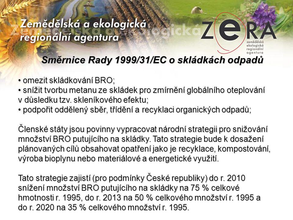 Směrnice Rady 1999/31/EC o skládkách odpadů Směrnice Rady 1999/31/EC o skládkách odpadů • omezit skládkování BRO; • snížit tvorbu metanu ze skládek pro zmírnění globálního oteplování v důsledku tzv.