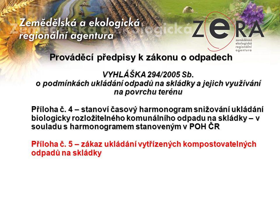 Prováděcí předpisy k zákonu o odpadech VYHLÁŠKA 294/2005 Sb.