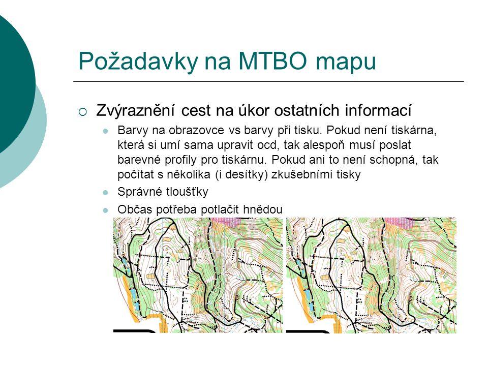 Požadavky na MTBO mapu  Zvýraznění cest na úkor ostatních informací  Barvy na obrazovce vs barvy při tisku. Pokud není tiskárna, která si umí sama u