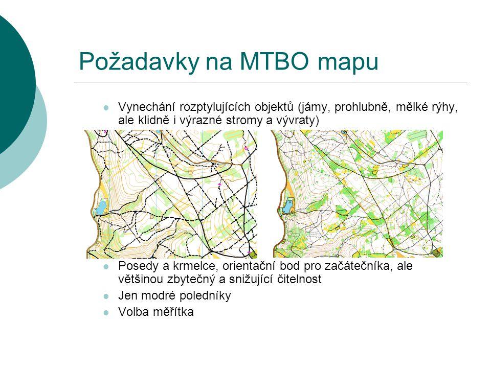 Požadavky na MTBO mapu  Vynechání rozptylujících objektů (jámy, prohlubně, mělké rýhy, ale klidně i výrazné stromy a vývraty)  Posedy a krmelce, ori