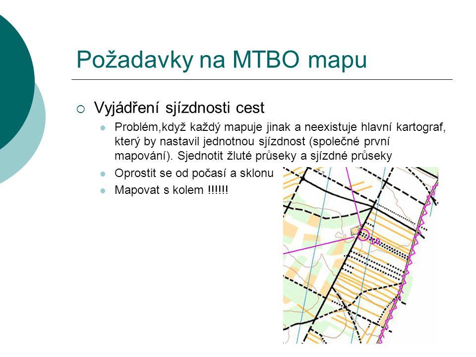 Požadavky na MTBO mapu  Vyjádření sjízdnosti cest  Problém,když každý mapuje jinak a neexistuje hlavní kartograf, který by nastavil jednotnou sjízdn