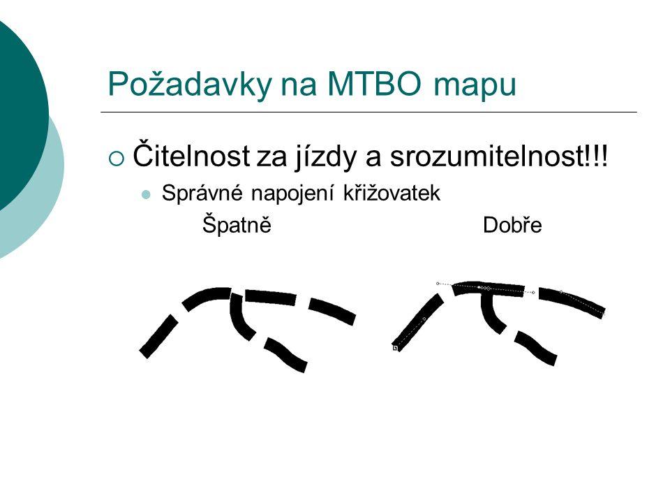 Požadavky na MTBO mapu  Čitelnost za jízdy a srozumitelnost!!!  Správné napojení křižovatek Špatně Dobře