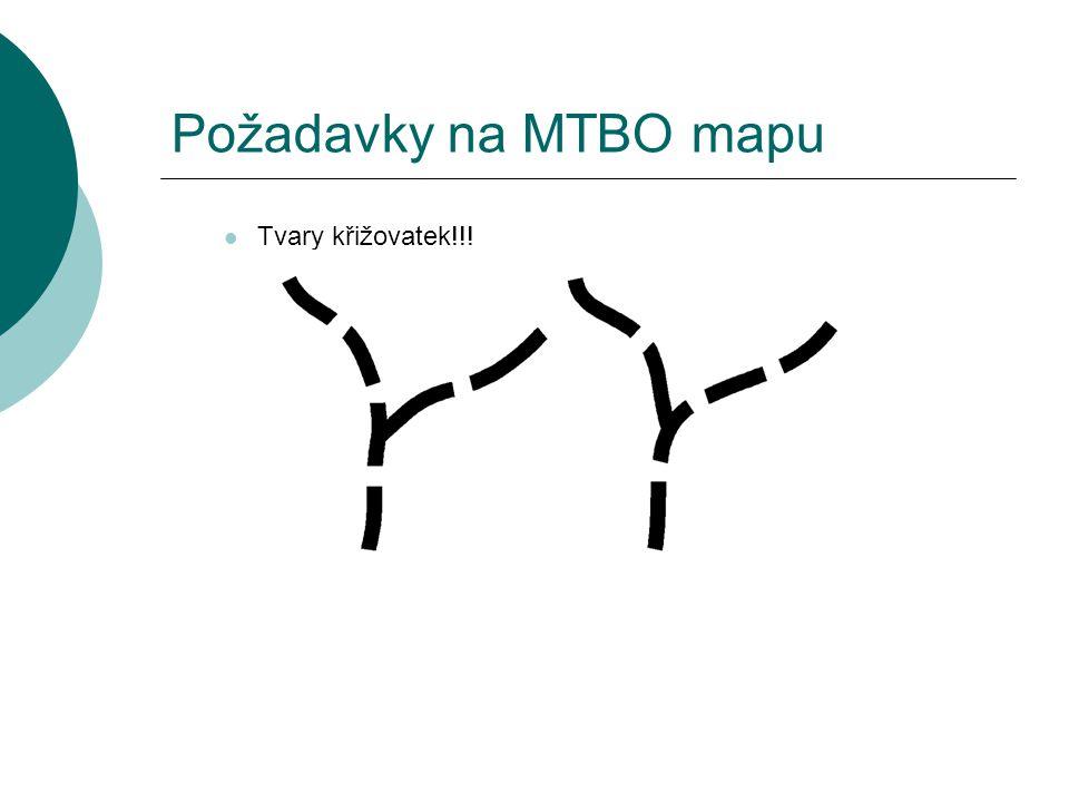 Požadavky na MTBO mapu  Tvary křižovatek!!!